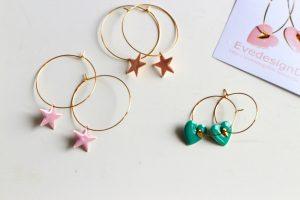 Ohrringe Emaille Herzen und Sterne