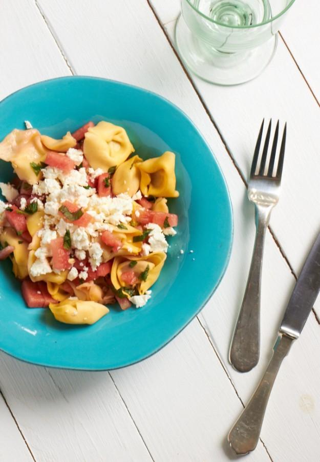 Tortellini Wassermelonen Salat  mit Feta tastesheriff
